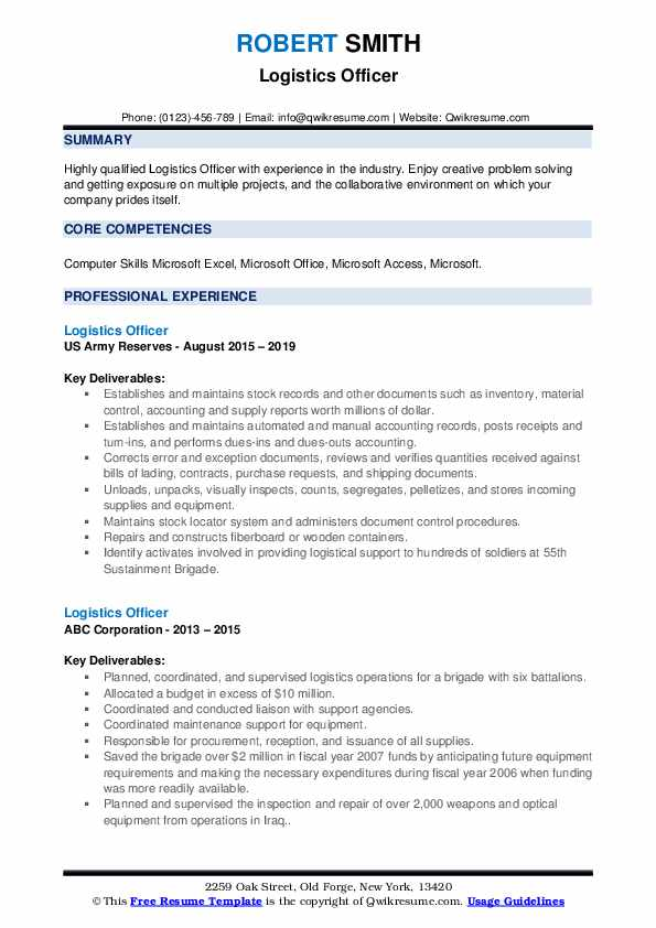 Logistics Officer Resume example