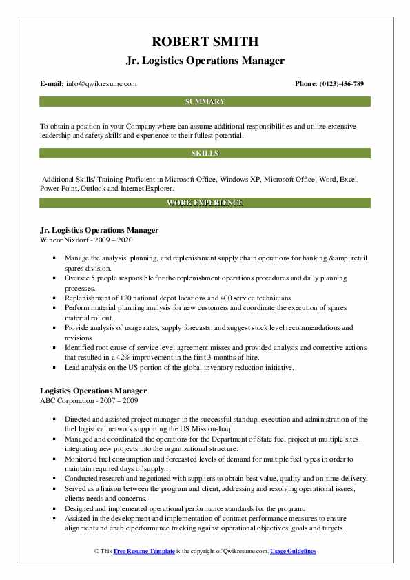 logistics operations manager resume samples