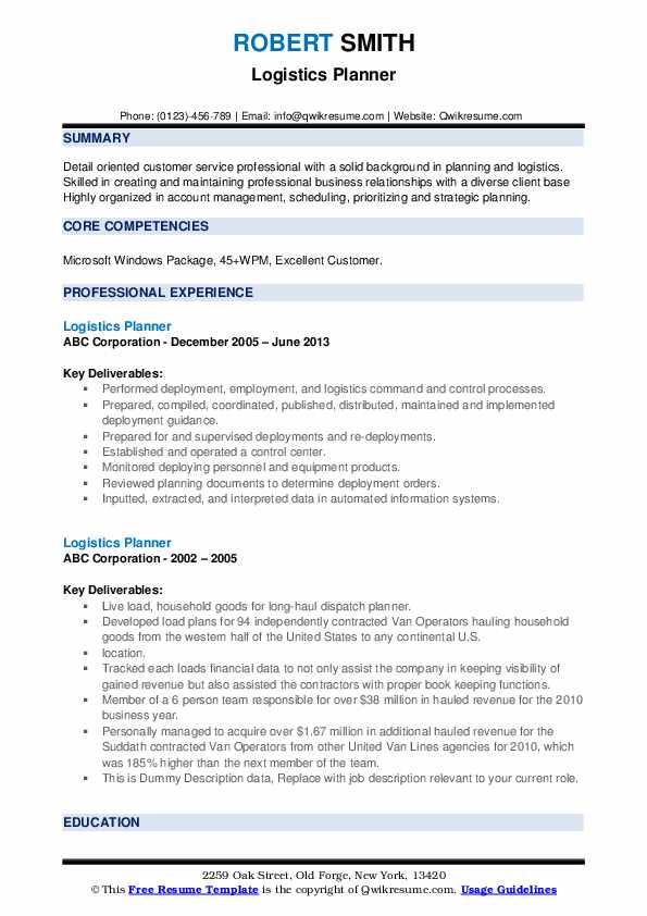 Logistics Planner Resume example
