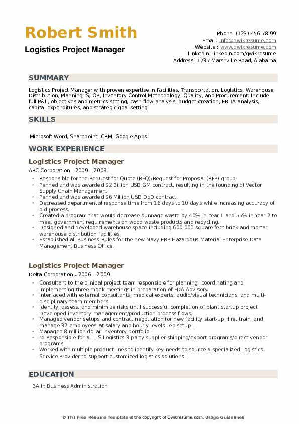 Logistics Project Manager Resume example