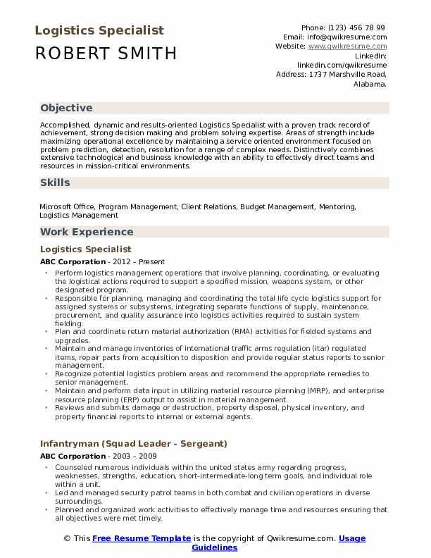 Logistics Specialist Resume Format