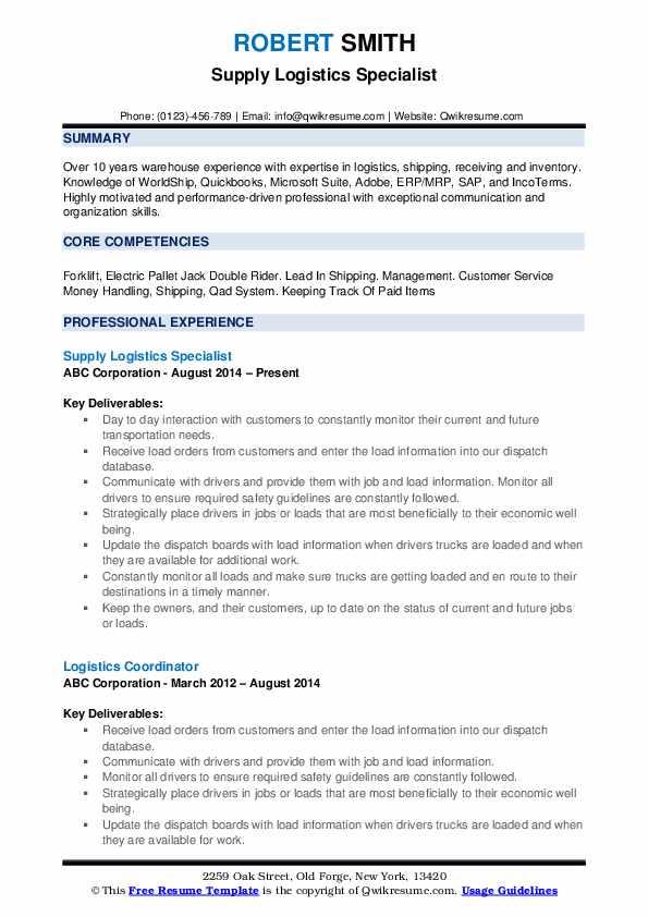 Supply Logistics Specialist Resume Format