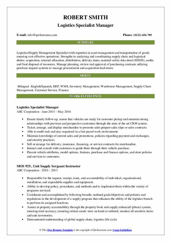 Logistics Specialist Manager Resume Example