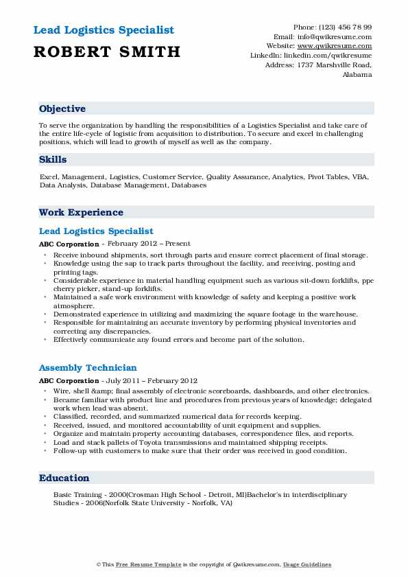 Lead Logistics Specialist Resume Model