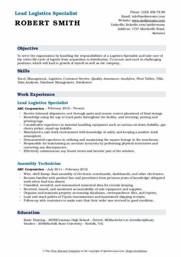 Lead Logistics Specialist Resume Format