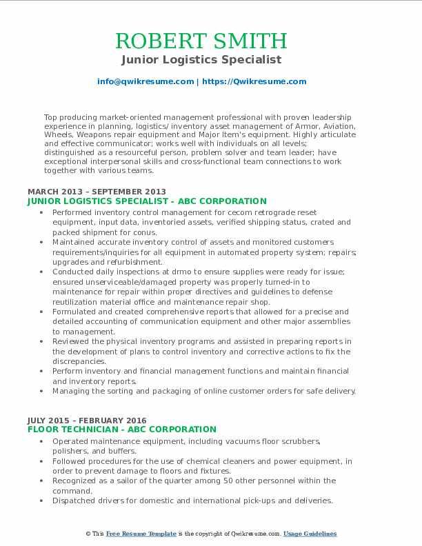 Junior Logistics Specialist Resume Template