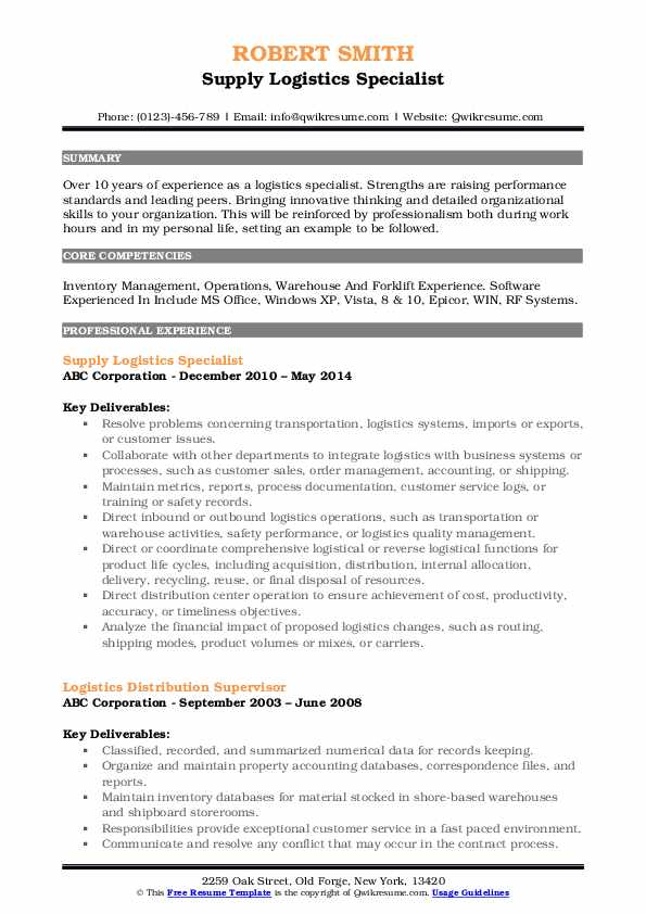 Supply Logistics Specialist Resume Format