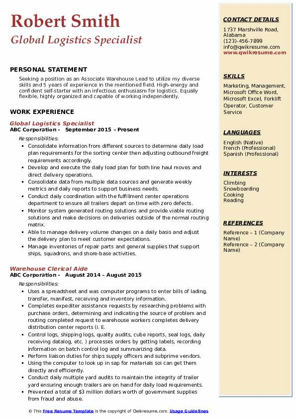 Global Logistics Specialist Resume Format