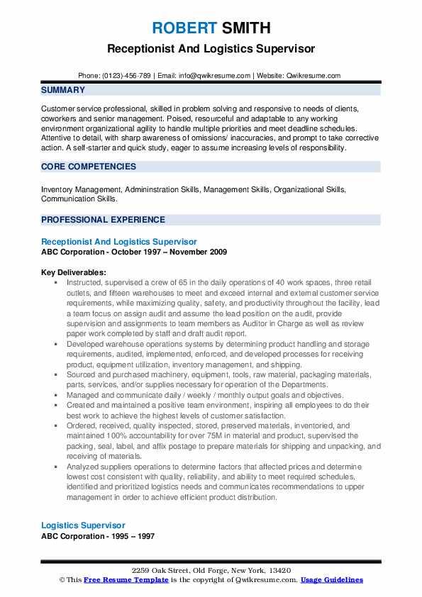Receptionist And Logistics Supervisor Resume Model