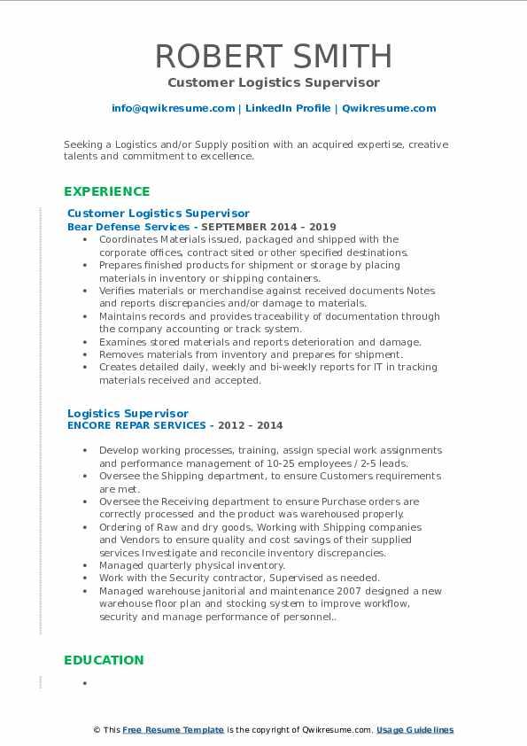 Customer Logistics Supervisor Resume Format