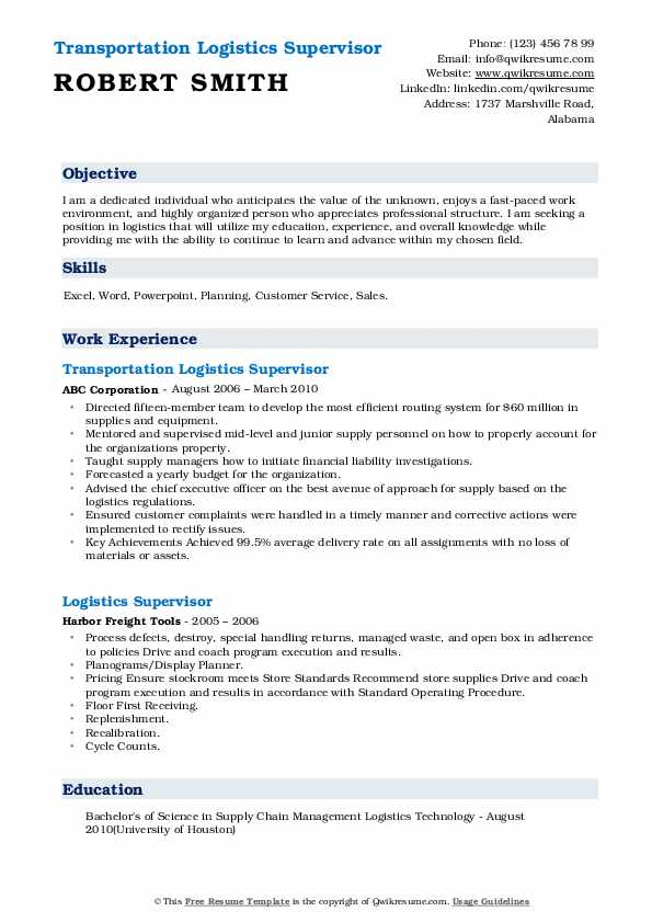 Transportation Logistics Supervisor Resume Model