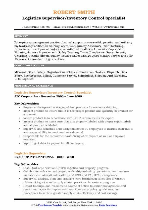 Logistics Supervisor/Inventory Control Specialist Resume Sample