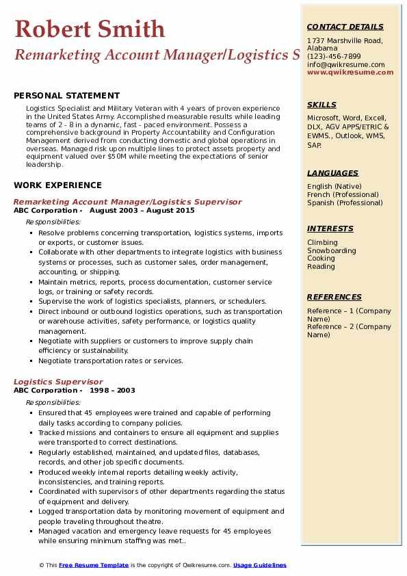 Remarketing Account Manager/Logistics Supervisor Resume Format