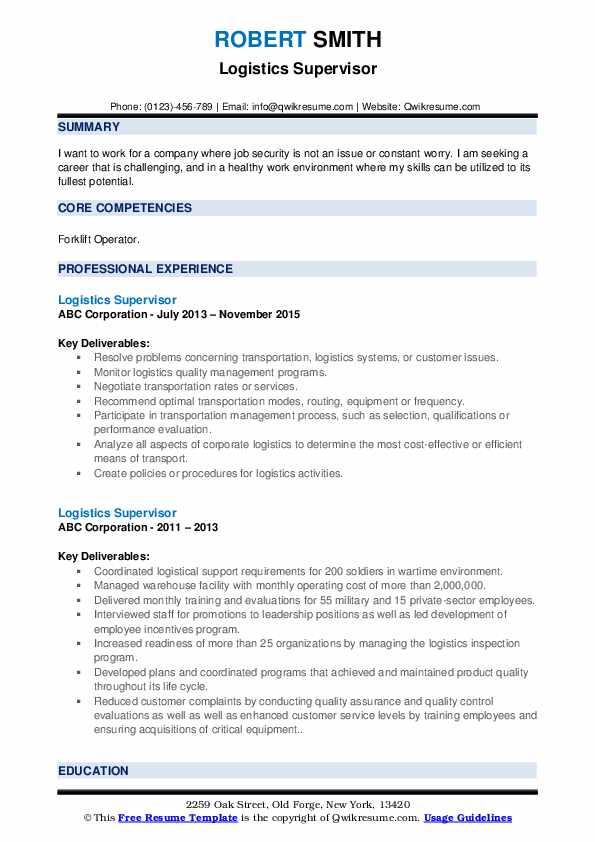 Logistics Supervisor Resume example