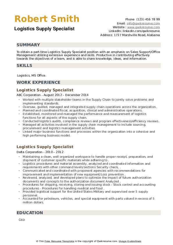 Logistics Supply Specialist Resume example