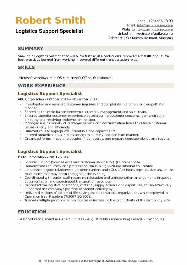 Logistics Support Specialist Resume example