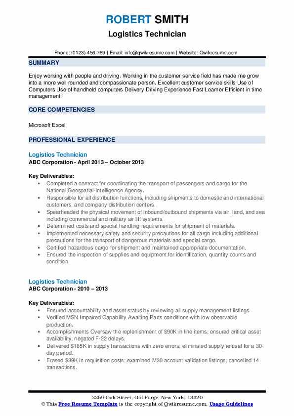 Logistics Technician Resume example