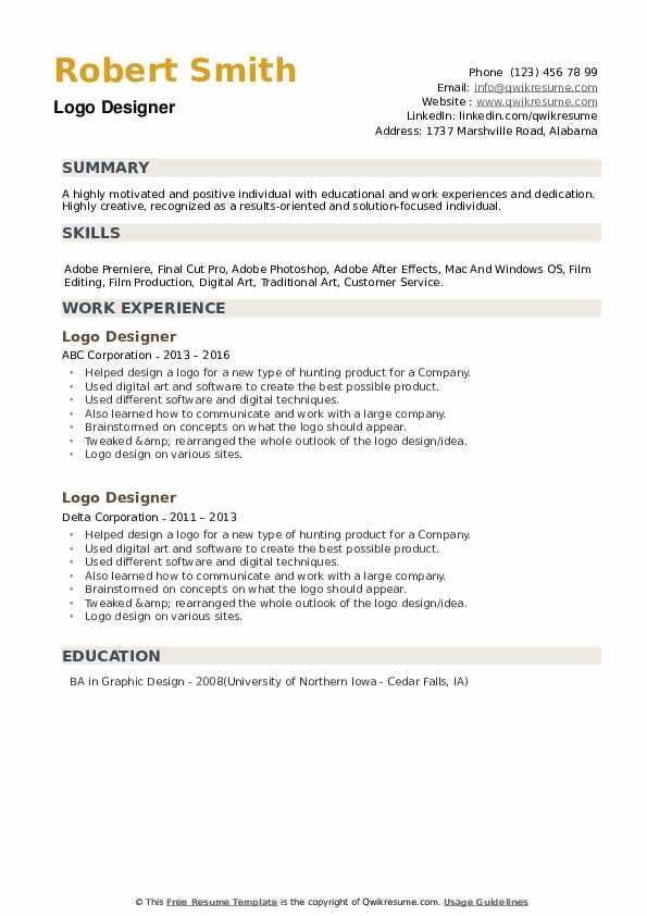 Logo Designer Resume example