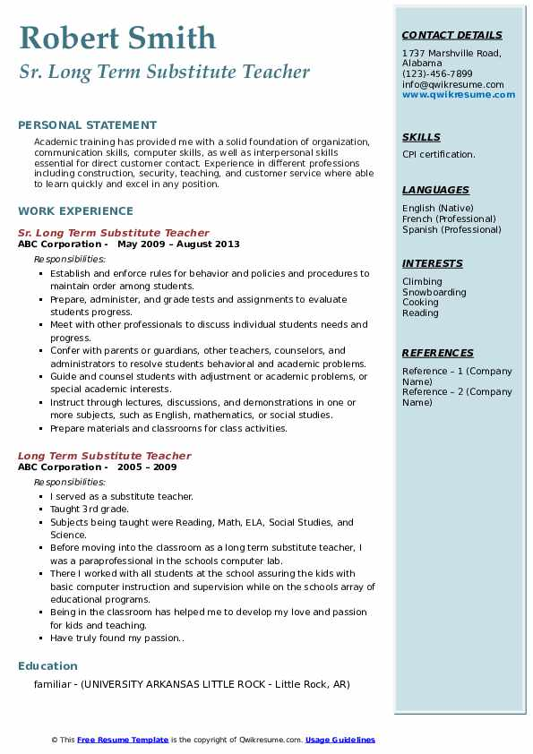 long term substitute teacher resume samples