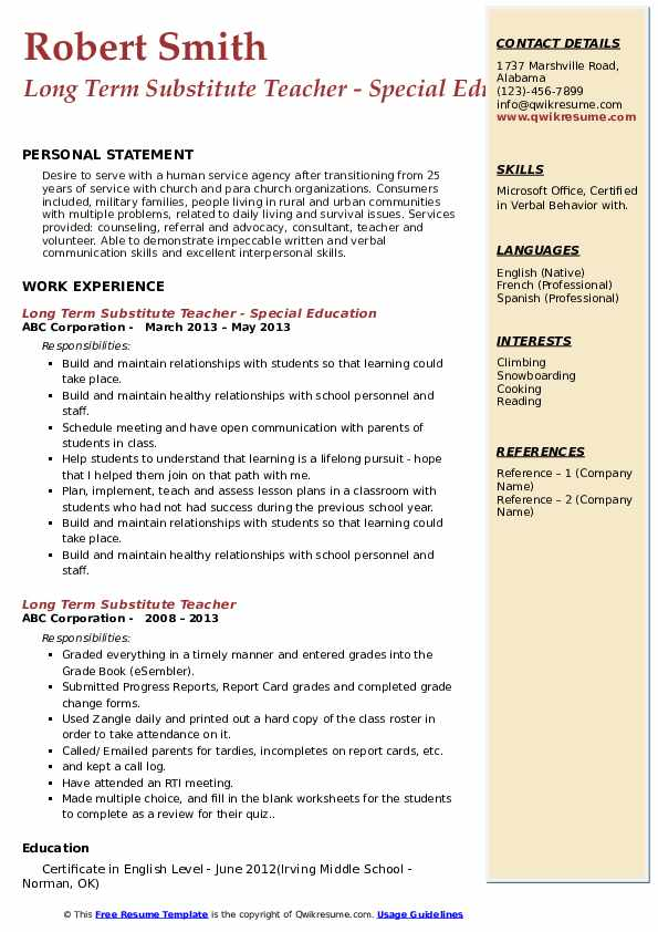 Long Term Substitute Teacher - Special Education Resume Model
