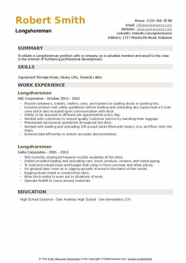 Longshoreman Resume example