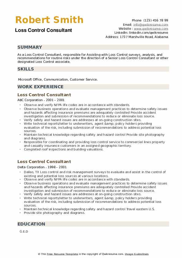 Loss Control Consultant Resume example