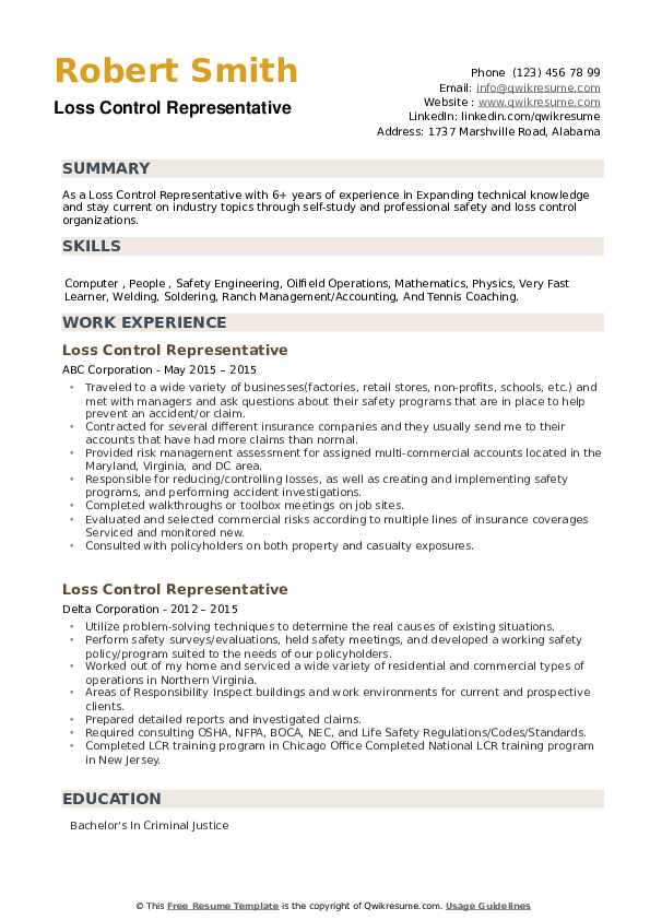 Loss Control Representative Resume example