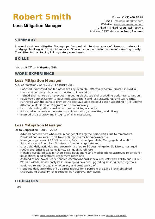 Loss Mitigation Manager Resume example