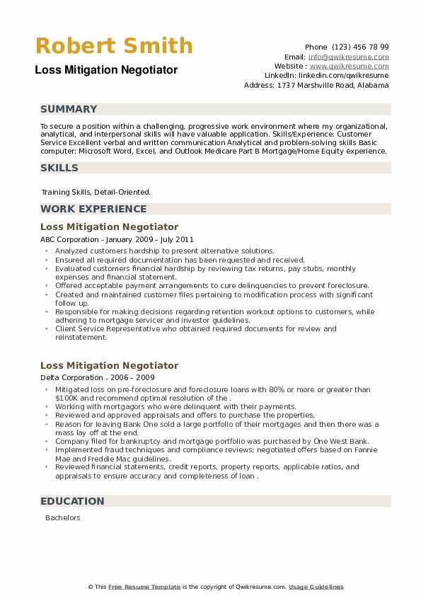 Loss Mitigation Negotiator Resume example