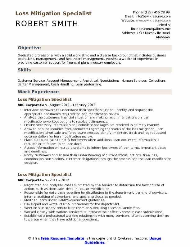 Loss Mitigation Specialist Resume Sample