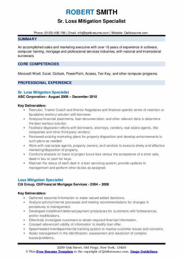 Sr. Loss Mitigation Specialist Resume Model