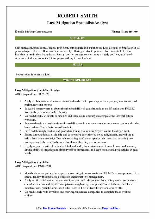 Loss Mitigation Specialist/Analyst Resume Model