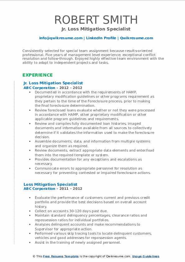 Jr. Loss Mitigation Specialist Resume Model