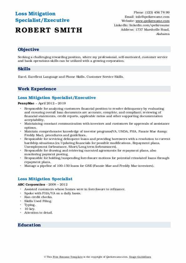 Loss Mitigation Specialist/Executive Resume Example