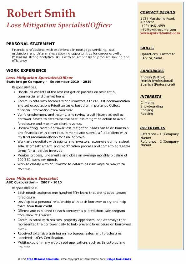 Loss Mitigation Specialist/Officer Resume Template