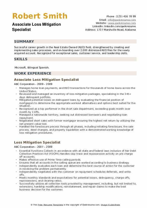Associate Loss Mitigation Specialist Resume Model