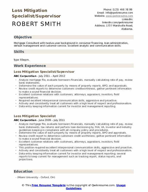 Loss Mitigation Specialist/Supervisor Resume Model