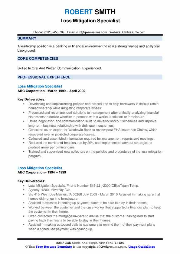 Loss Mitigation Specialist Resume example