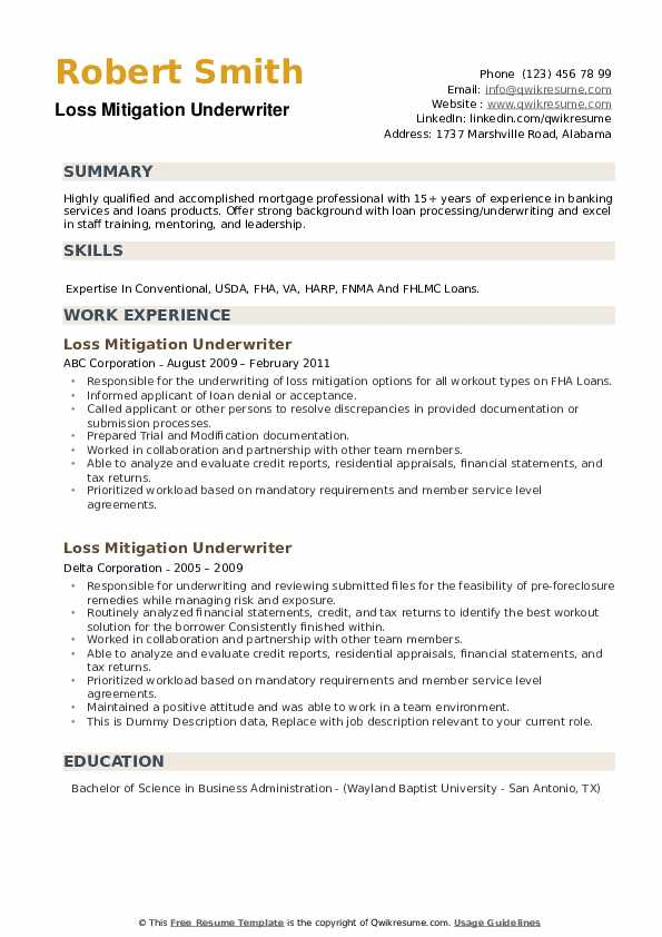 Loss Mitigation Underwriter Resume example