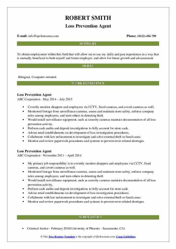 Loss Prevention Agent Resume Sample