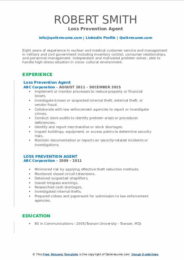 Loss Prevention Agent Resume Example