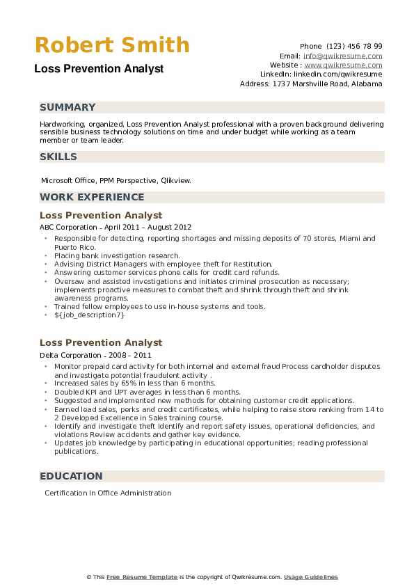 Loss Prevention Analyst Resume example