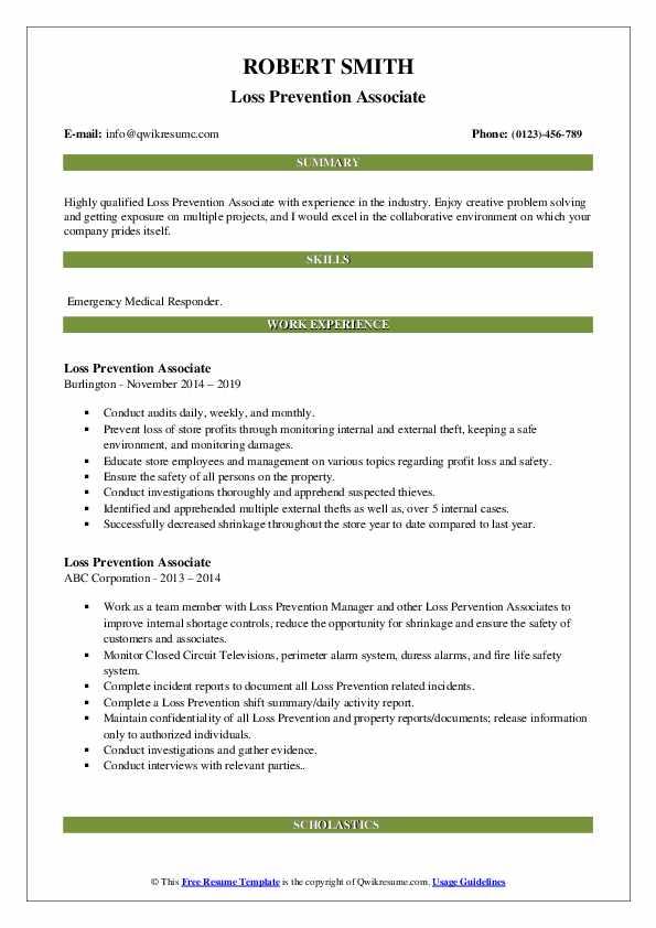 Loss Prevention Associate Resume Sample