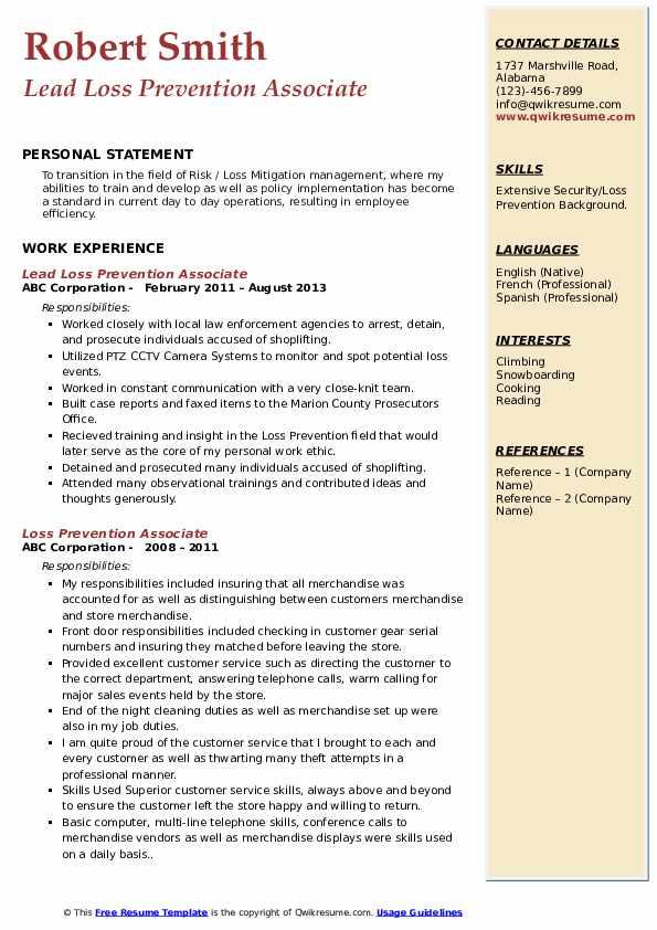 Lead Loss Prevention Associate Resume Template