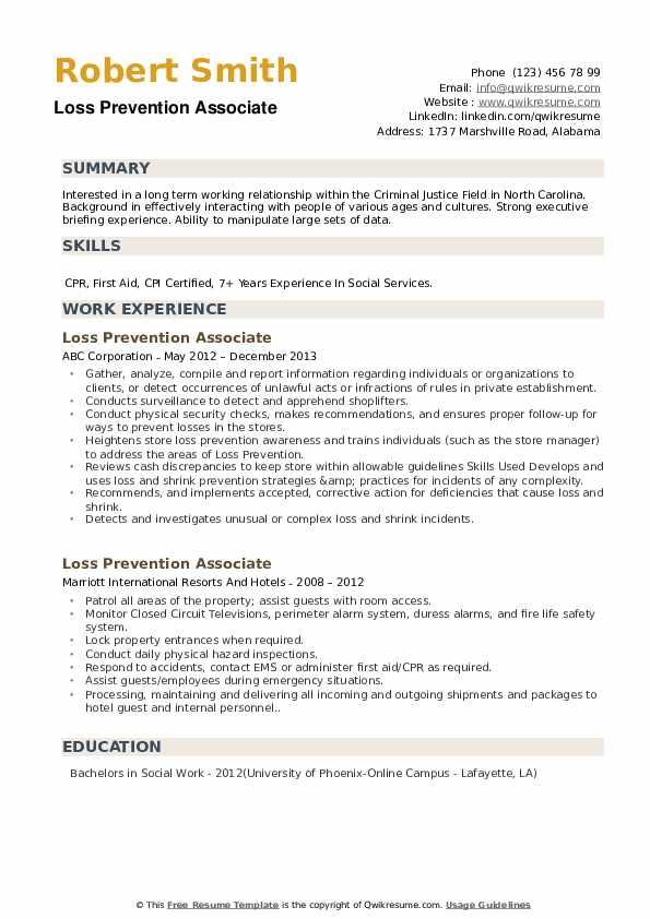 Loss Prevention Associate Resume Format