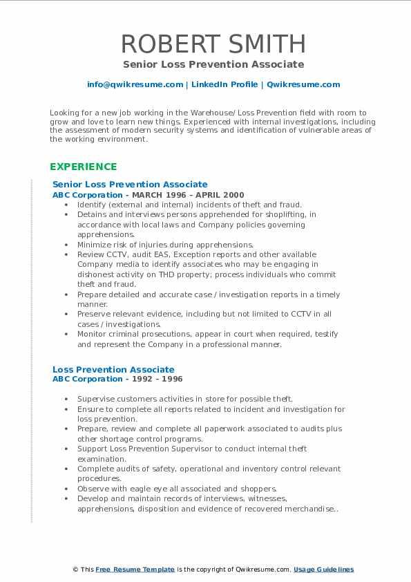 Senior Loss Prevention Associate Resume Sample