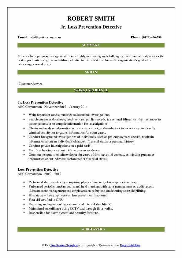 Jr. Loss Prevention Detective Resume Format