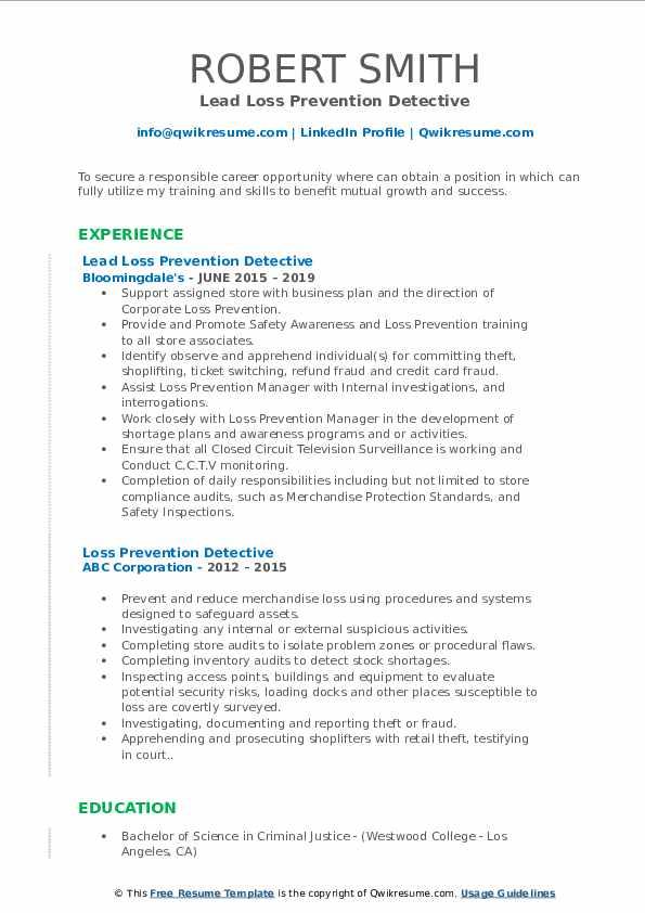 Lead Loss Prevention Detective Resume Model