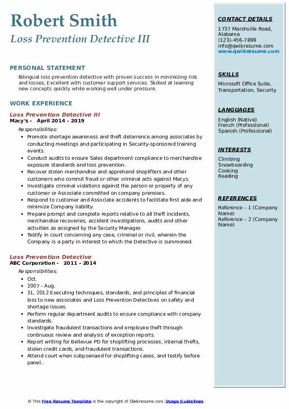 Loss Prevention Detective III Resume Template