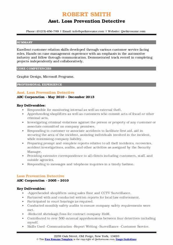 Asst. Loss Prevention Detective Resume Model